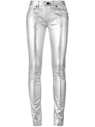 Off White Metallic Grey Super Skinny Trousers