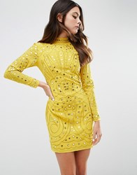 Asos Mirror And Embroidered Cut Out Back Mini Dress Yellow