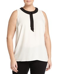 Vince Camuto Plus Sleeveless Collared Blouse New Ivory