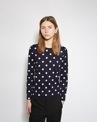 Comme Des Garcons Longsleeve Polka Dot Tee Navy And Off White