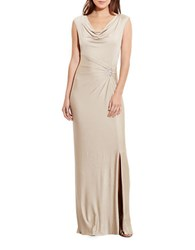 Lauren Ralph Lauren Metallic Cowlneck Gown White Gold