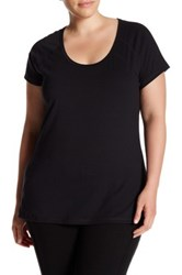 Z By Zella Scoop Neck Seamed Tee Plus Size Black