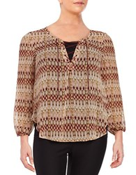 Jessica Simpson Plus Lace Up Patterned Blouse Nature