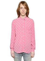 Saint Laurent Polka Dots Viscose Shirt W Raw Cut Hem
