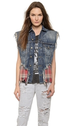 R 13 Double Denim And Plaid Vest Denim Vintage Red