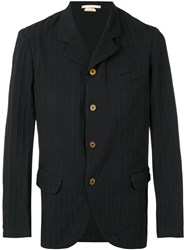 Comme Des Garcons Homme Plus Striped Classic Blazer Men Polyester Cupro M Black