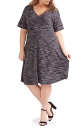 Addition Elle Love And Legend Plus Size Women's Print Rib Knit A Line Dress Black Combo
