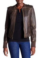 Levi's Genuine Leather Knit Panel Jacket Brown