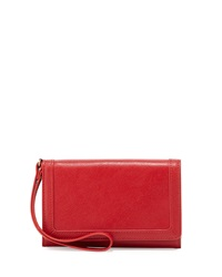 Neiman Marcus Leather Cell Phone Wristlet Red
