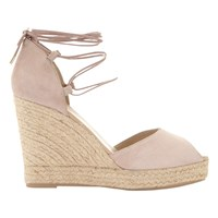 Mint Velvet Hayley Lace Up Wedge Heeled Sandals Nude