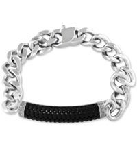 Effy Collection Effy Men's Black Sapphire Linked Bracelet In Sterling Silver
