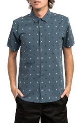 Rvca And Sons Geo Pattern Woven Shirt Blue Slate