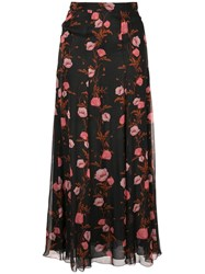 Giambattista Valli Floral Print Skirt Black