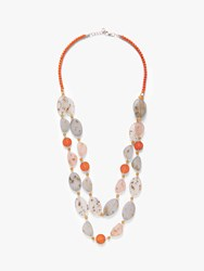 One Button Double Row Layered Necklace Multi