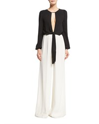 Rachel Zoe Guilia Long Sleeve Wide Leg Jumpsuit Black White