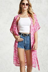 Forever 21 Longline Belted Kimono Hot Pink Cream