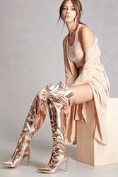 Forever 21 Metallic Thigh High Boots