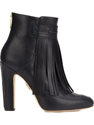 Maiyet 'Blake' Fringe Heeled Booties Blue