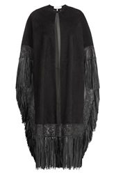 Valentino Suede Cape With Leather Fringe Black
