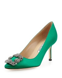 Manolo Blahnik Hangisi Satin Crystal Toe Pump Green