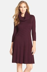 Women's Eliza J Cowl Neck Fit And Flare Sweater Dress Aubergine