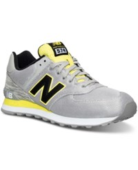 New Balance Men's 574 Summer Waves Casual Sneakers From Finish Line Grey Yellow