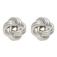 Nina B Small Silver Knot Stud Earrings Silver