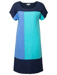 East Linen Colour Block Dress Cornflower