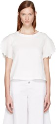 See By Chloe White Scalloped Sleeves T Shirt