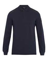 Belstaff Ashburton Long Sleeved Cotton Pique Polo Shirt Navy