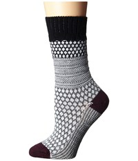 Smartwool Popcorn Cable Black Women's Crew Cut Socks Shoes