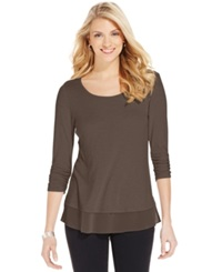 Style And Co. Chiffon Hem Three Quarter Sleeve Top Only At Macy's Deep Mocha