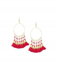 Panacea Beaded Hoop Drop Earrings W Tassels Pink