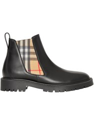 Burberry Vintage Check Detail Leather Chelsea Boots Black