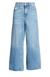 Topshop Crop Wide Leg Jeans Mid Denim