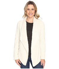 Dylan By True Grit Luxe Fur And Fleece Drape Jacket With Lining Vintage White Heather Women's Coat