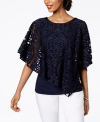 Msk Lace Overlay Top Navy