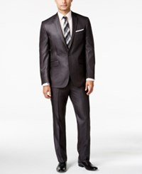 Kenneth Cole Reaction Charcoal Basketweave Slim Fit Suit