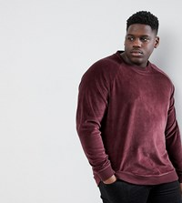 Only And Sons Plus Velour Sweatshirt Red