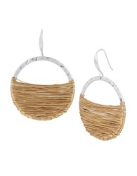 Robert Lee Morris Bold Moves Goldplated And Silverplated Wire Wrapped Gypsy Hoop Earrings