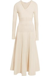 Barbara Casasola Paneled Stretch Knit Midi Dress Off White
