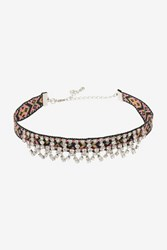 Topshop Aztec And Rhinestone Choker Necklace Clear
