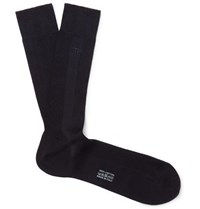 Tom Ford Logo Embroidered Ribbed Cotton Socks Blue