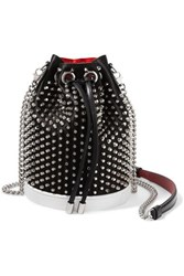 Christian Louboutin Marie Jane Studded Satin And Leather Bucket Bag Black