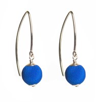Dorus Mhor Cobalt Blue Silver Marquise Earrings Blue Silver