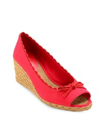 Lauren Ralph Lauren Chaning Open Toe Espadrilles Bright Red