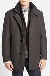 Men's Boss 'Coxtan' Wool Blend Overcoat Brown