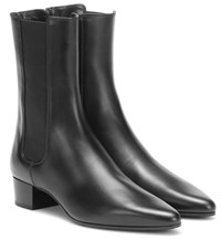 The Row British Leather Ankle Boots Black