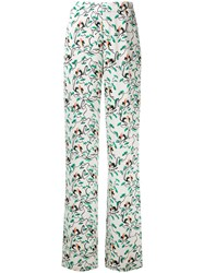 Etro Leaf Print Wide Leg Trousers White