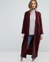 Missguided Shawl Collar Maxi Coat Chocolate Brown